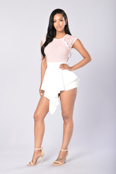 Lace And Love Romper - Blush