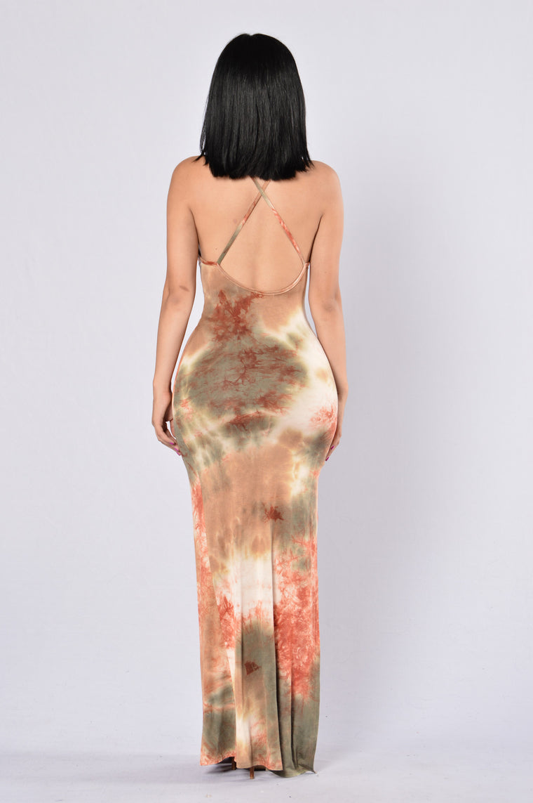 Dye For Me Dress - Olive/Rust