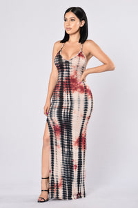 Dye For Me Dress - Black/Burgundy