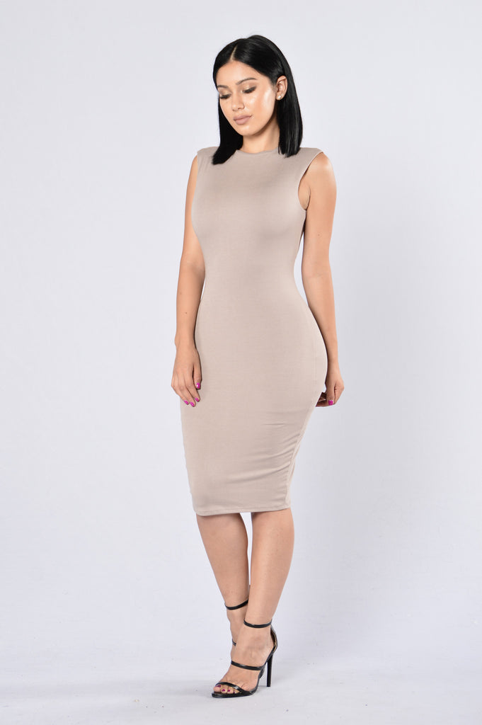 Simple As Can Be Dress - Mocha