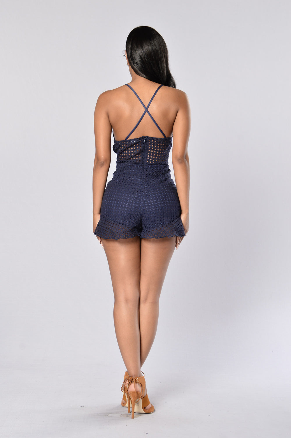 Glamorous Lace Romper - Navy