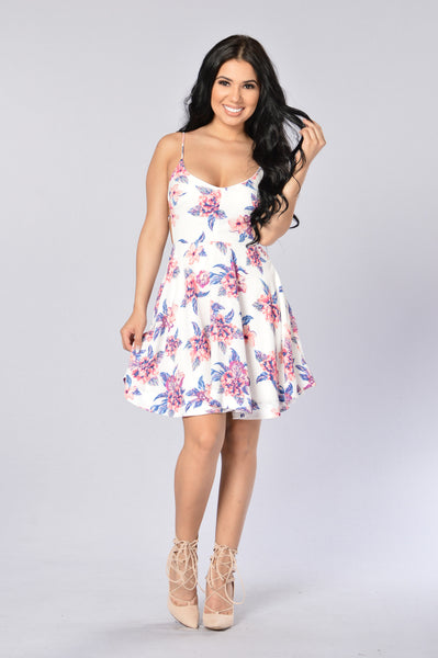 Flowerly Dress - White