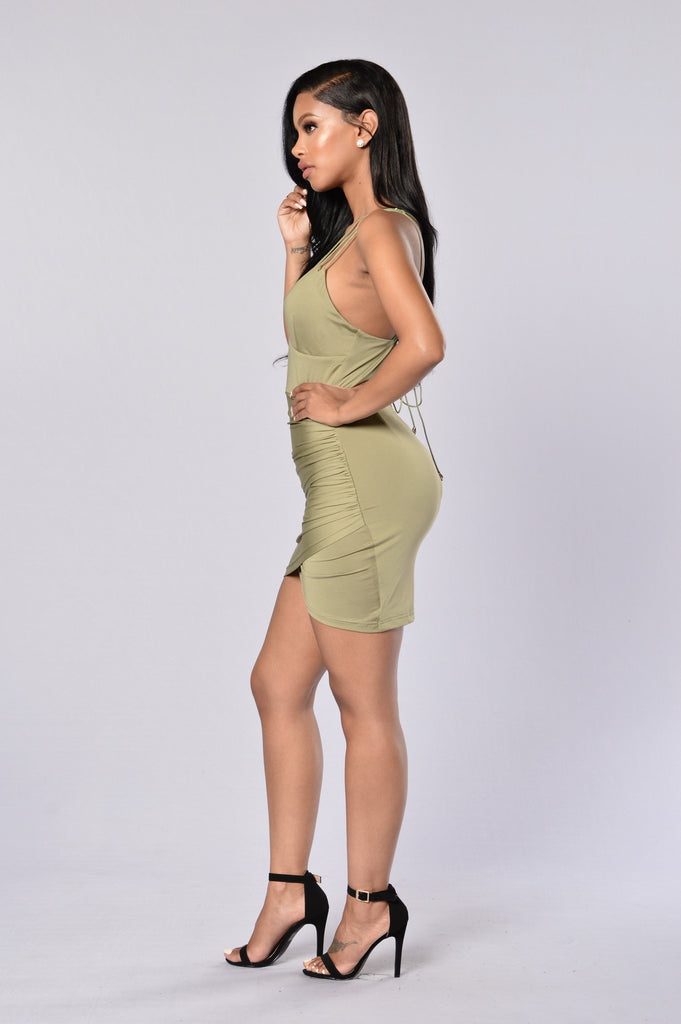 Strapped to Kill Dress - Olive