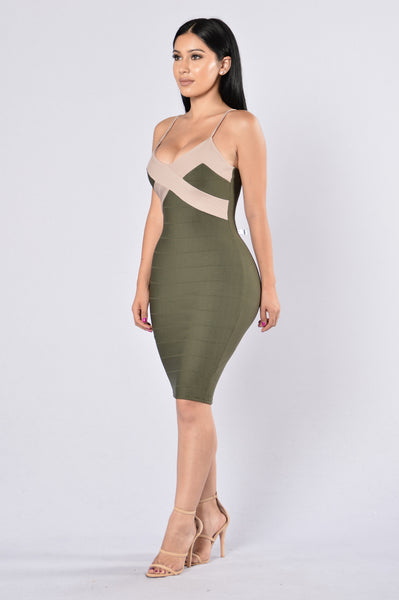 Kori Dress - Olive/Taupe
