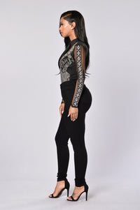 Bejeweled Bodysuit - Black Angle 6