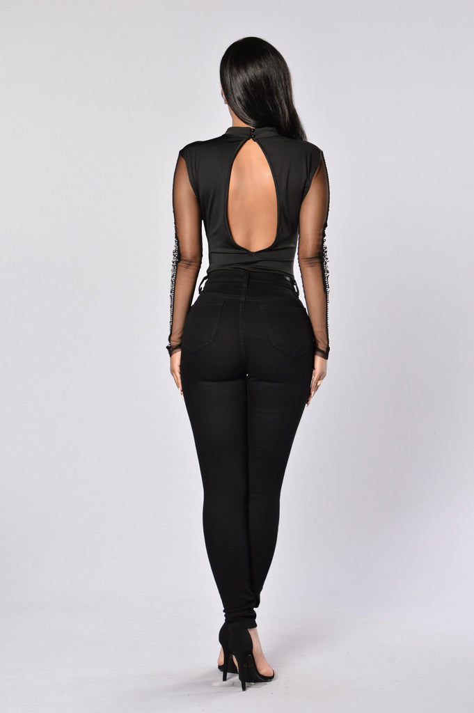 Bejeweled Bodysuit - Black