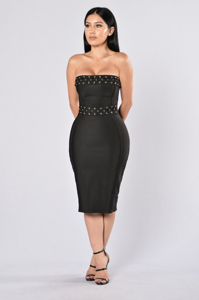 Hot as Hell Bandage Dress - Black