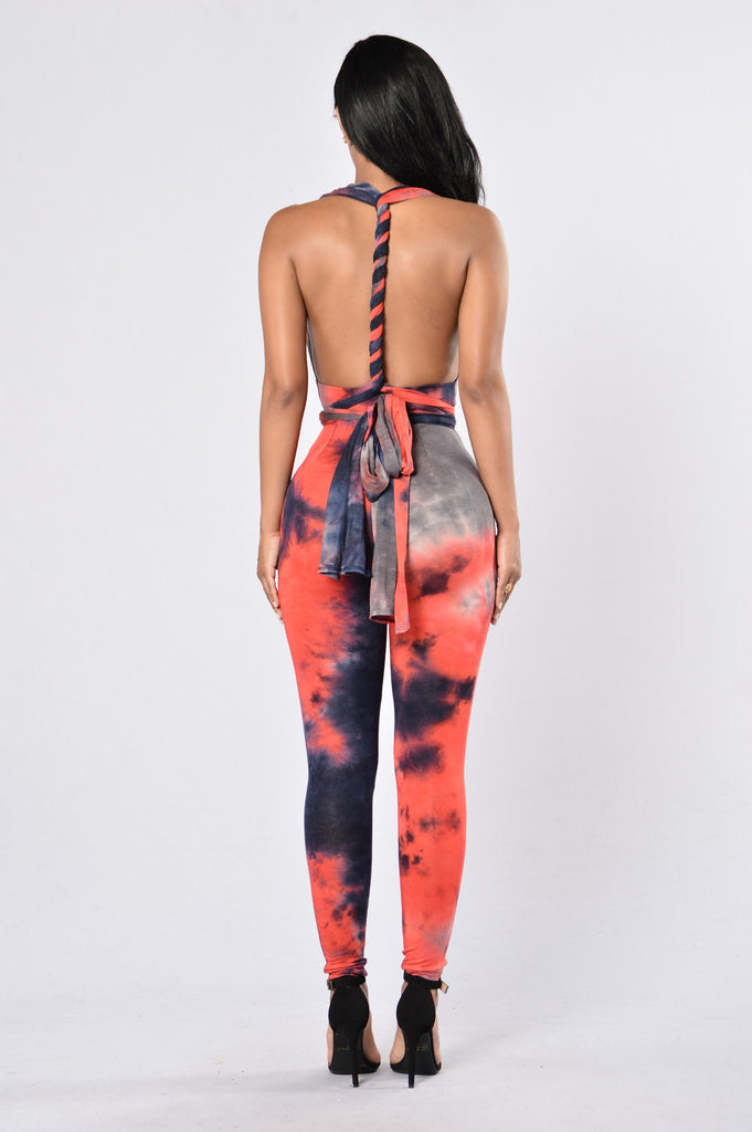 Revolution Jumpsuit - Navy/Red