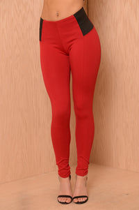 High Rise Pants W/ Elastic Waist - Red Tango