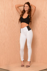 High Rise Pants W/ Elastic Waist - White