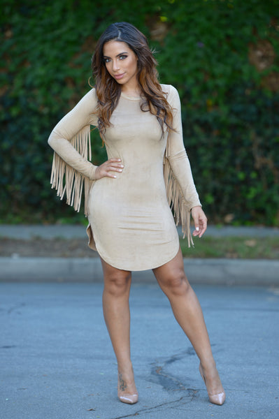 Fringe Binge Dress - Camel
