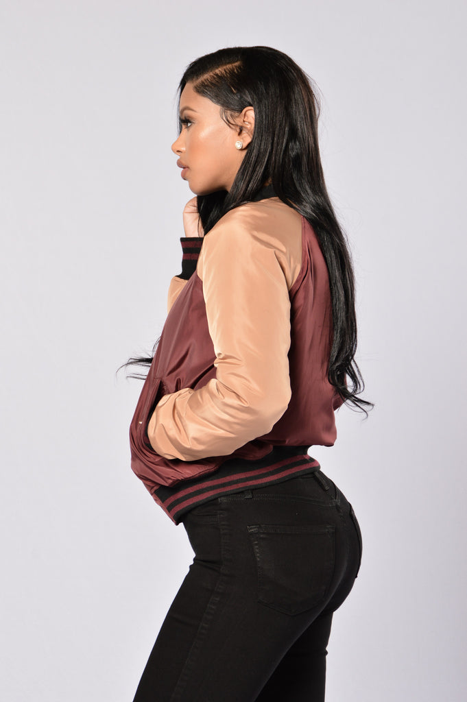 Going Back to Cali Bomber Jacket - Burgundy/Camel