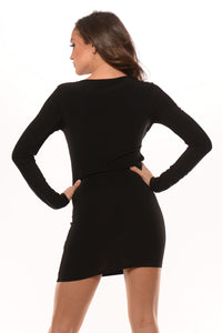 Long Sleeve Crossed Exposed Dress #5 - Black