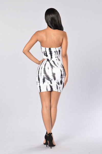 Dye Me Up Dress - White/Black
