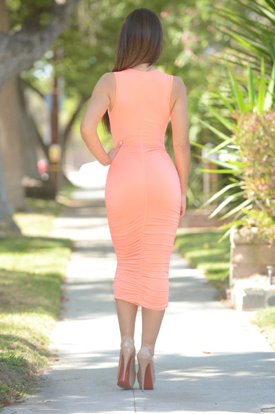 Scrunch Dress - Neon Coral