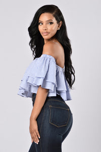 Ruffled Around You Top - Blue