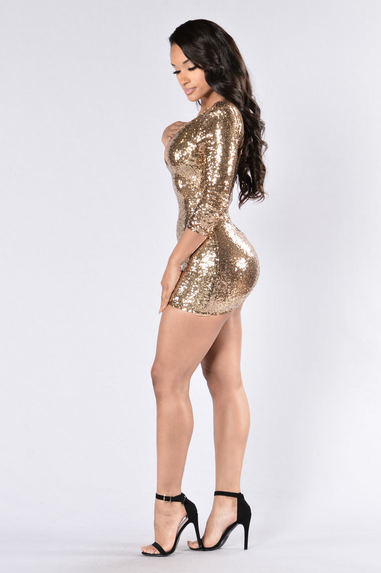 Shooting Stars Dress - Gold