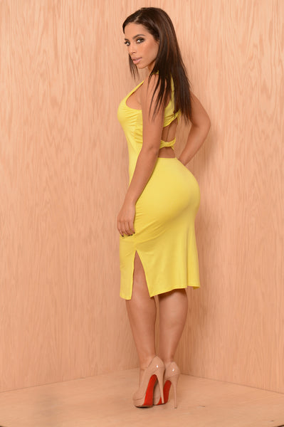 Tonguetied Dress - Lemon