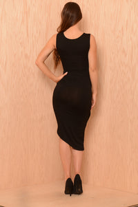 Pulled Aside Dress - Black