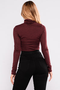 Courtney Jo Turtleneck Top - Burgundy