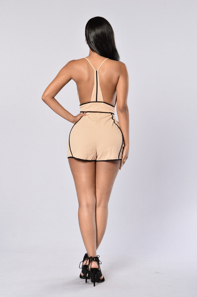Network Romper - Taupe/Black