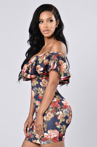 Flower Shower Dress - Navy