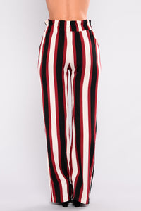 Stripe Right Pants - Burgundy