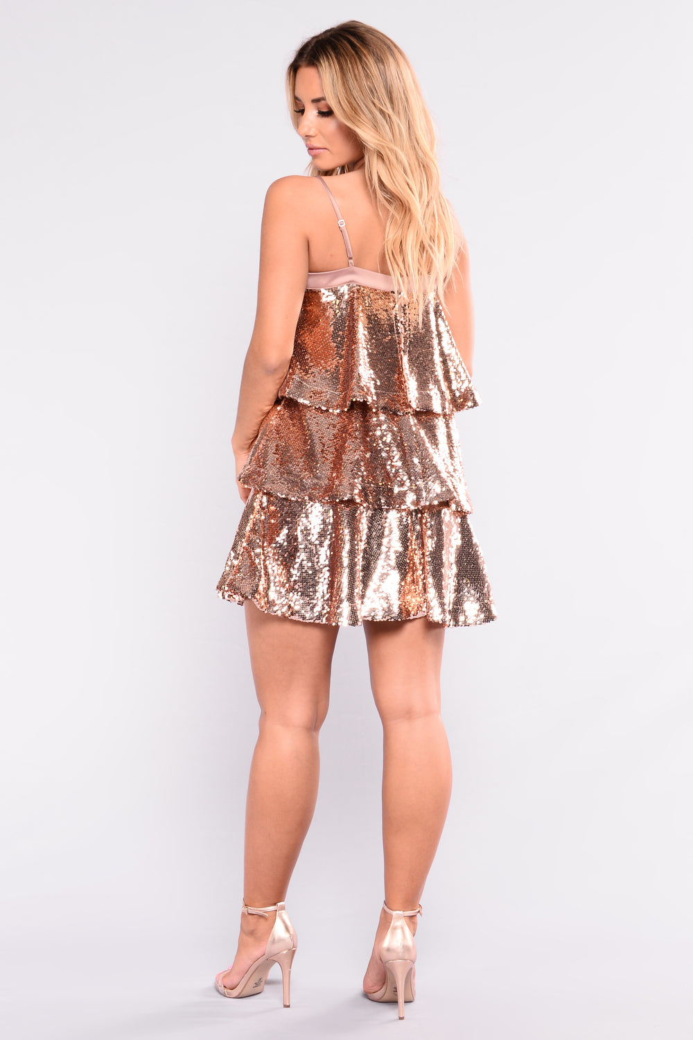 Strike It Rich Sequin Dress - Rose Gold