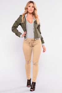Out And About Knee Slit Pants - Beige