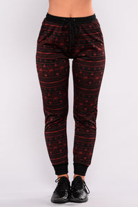 Sammy Print Joggers - Red Multi