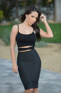 Luxe Pencil Skirt - Black Angle 1