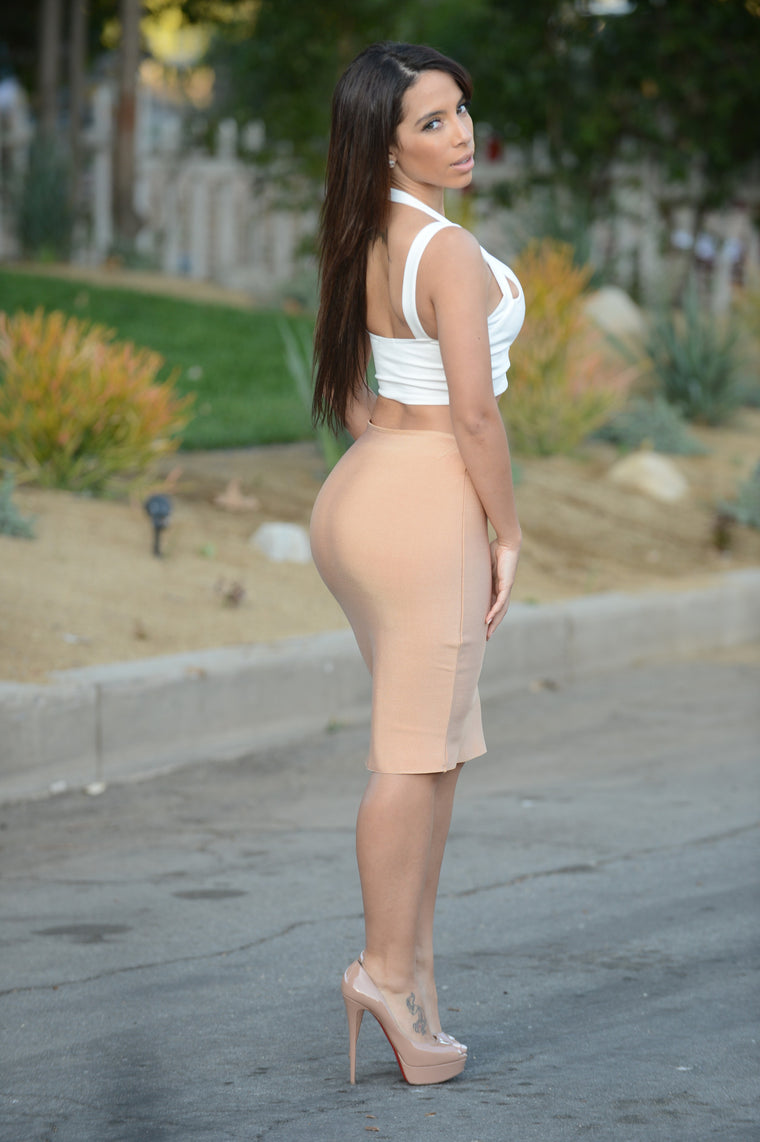 Luxe Pencil Skirt - Gold Taupe