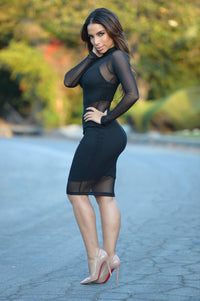 Sheer Elegance Dress - Black
