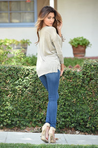 Top of the World Sweater - Taupe Angle 2
