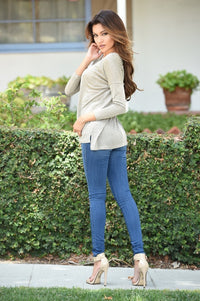 Top of the World Sweater - Taupe Angle 3