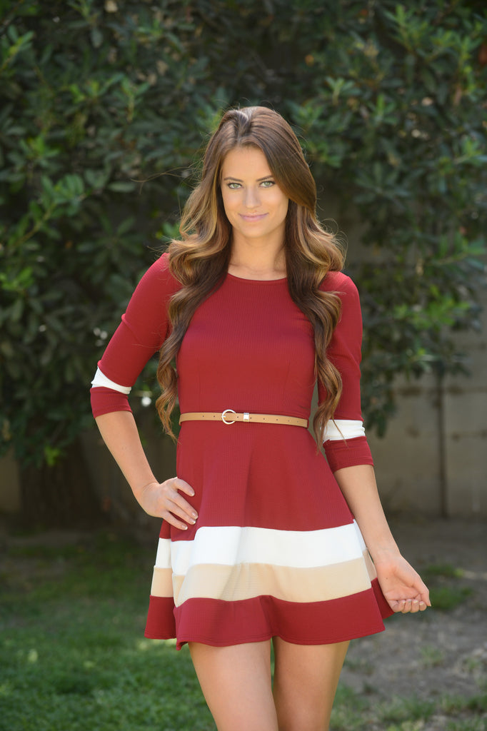 Annabella Dress - Burgundy