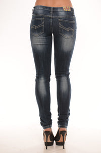 Low Rise Destroyed Skinny Jeans - Dark Angle 2