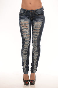 Low Rise Destroyed Skinny Jeans - Dark Angle 1
