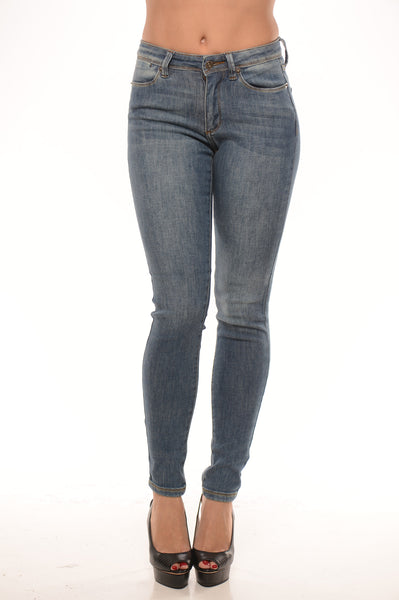 Mid Rise Skinny Stone Wash Jeans - Light