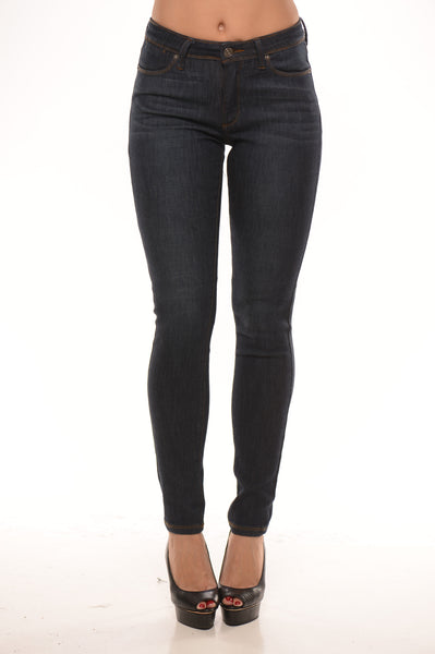 Mid Rise Skinny Stone Wash Jeans - Dark