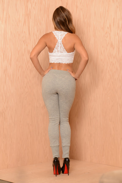 Lace Them Up Pants - Heather Grey