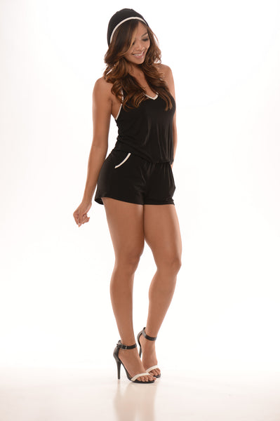 Hooded Trimmed Romper - Black