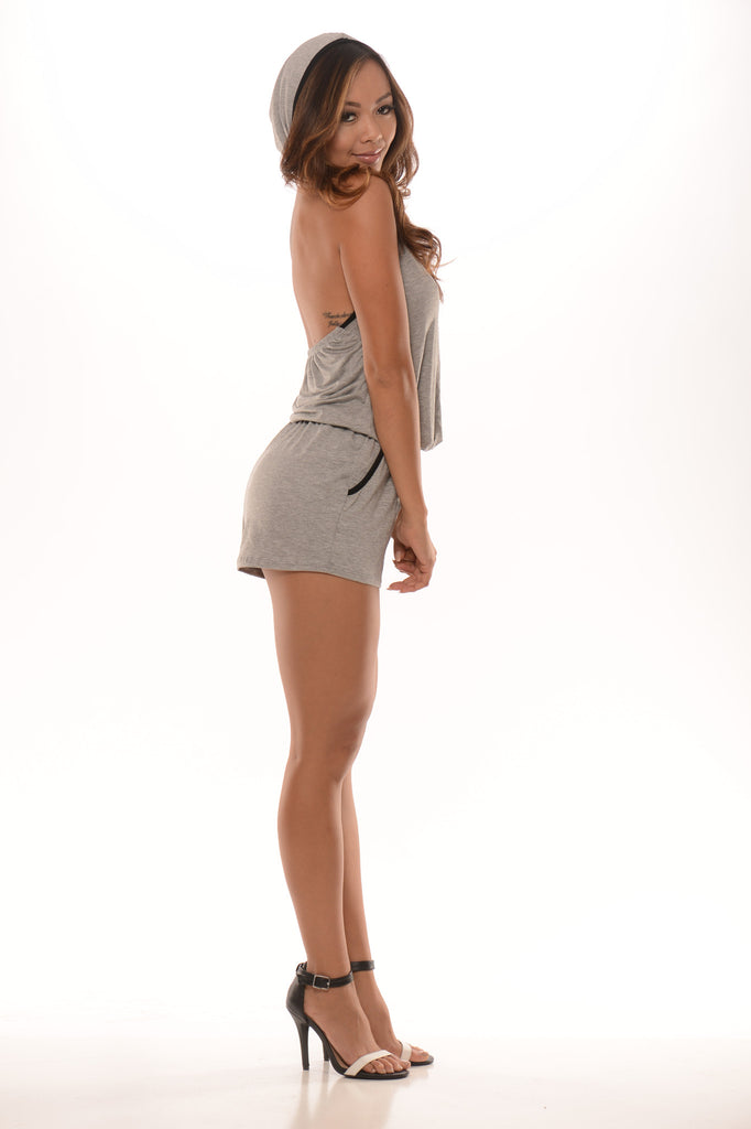 Hooded Trimmed Romper - Heather Grey