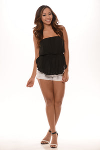 Tube Layer Chiffon Crop Top - Black Angle 1