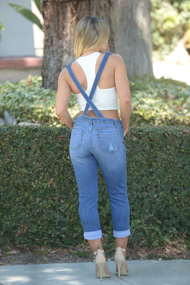 Shawn Boyfriend Overall - Medium Wash