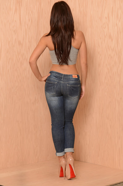 Lightning Boyfriend Jeans - Medium Blue