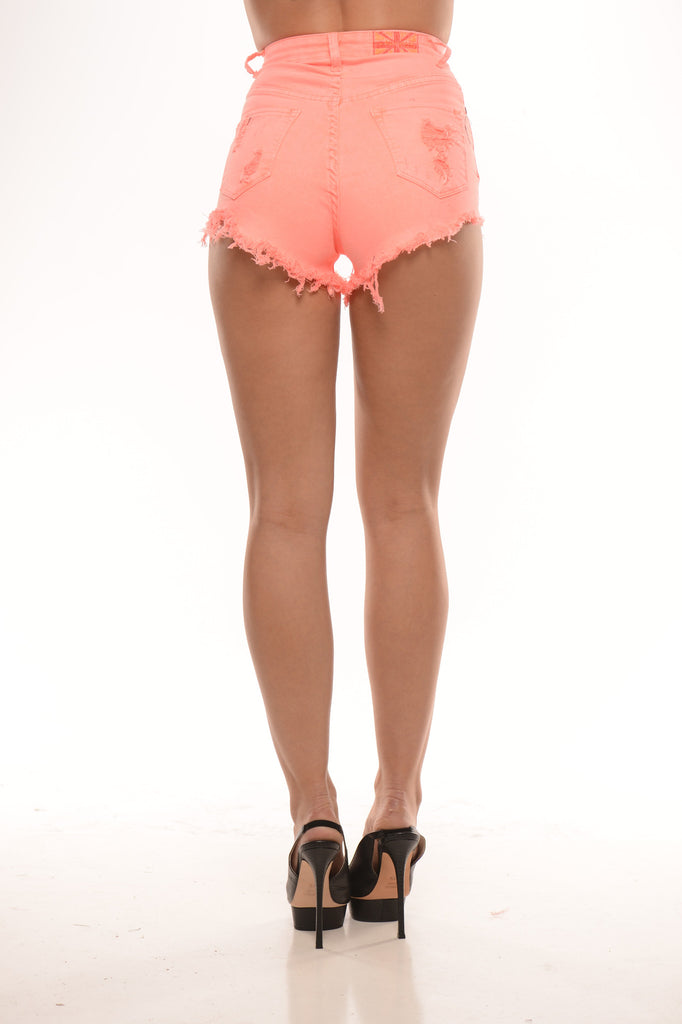 High Waist Distressed Shorts - Coral
