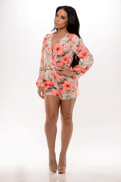 Sweet Nectar Romper - Coral