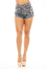 High Waist Shorts W/ Fray -Blue Acid Wash
