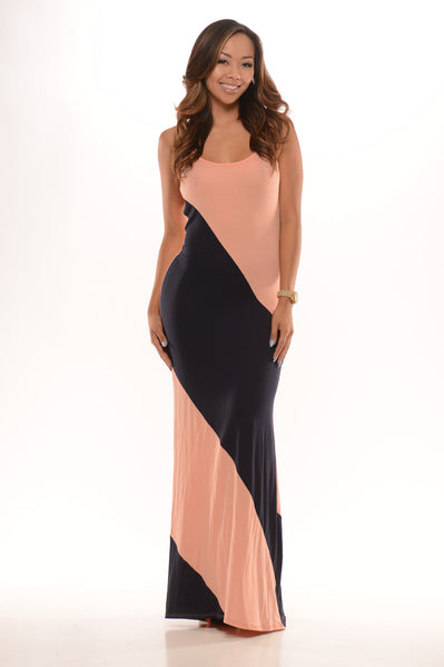 Diagonal Stripe Maxi Dress - Peach/Navy